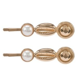Rubi Shell Pearl and Gold Hair Slides Pearl/Gold